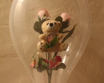 "Love you!!   Calico Bear, with roses and an ""I love you to the Moon and Back"" pendant"