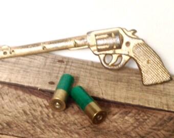 Gold Gun Key Hook - Wall Key Holder - Hunting Decor - Wall Jewelry Holder - Wall Necklace Holder - Necklace Hook - Boyfriend Christmas Gift