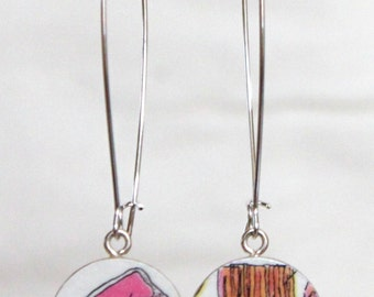 Pork Chop and Bacon Handmade Recycled Paper Earrings