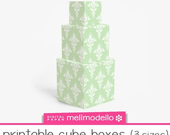 """Printable cube shape boxes """"Marquise""""green , 3 sizes, Print at will, downloadable, DIY,"""