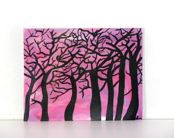 Trees silhouette painting