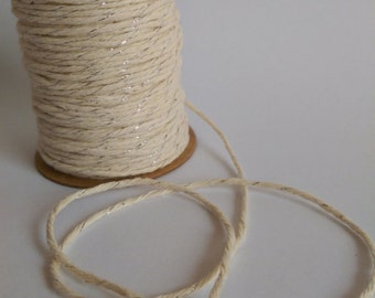 COTTON TWINE Decorative Rope String 10 Meters, Ivory and Silver, Floral Supplies, Craft Rope