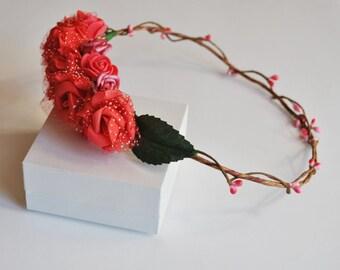 Flower crown, headband,  festival  crown, music festival, boho crown, bridal headpiece, red flower crown, forest crown, wedding band,pink cr