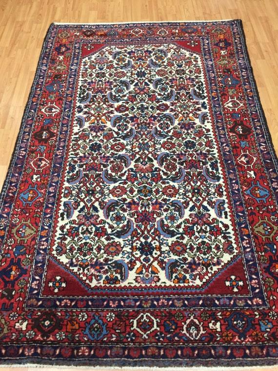 "4' x 6'9"" Persian Malayer Oriental Rug - 1980s - Hand Made - 100% Wool"