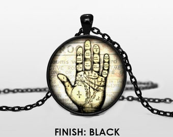 HAND READING necklace Vintage anatomy pendant steampunk anatomical jewelry circus fortune teller Pendant chain anatomy jewelley 046