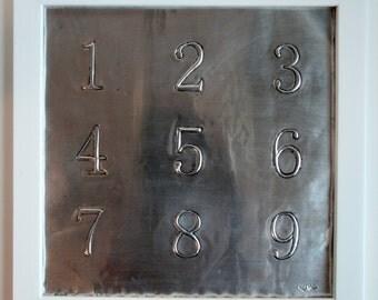 Numbers Metal Artwork - Children's Room - Nursery Decor - Playroom Art - Baby Gift