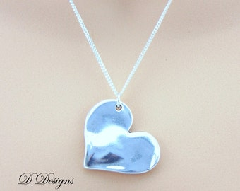 Heart Necklace, Heart Pendant, Silver Heart Pendant Necklace, Silver Charm Necklace, Silver Necklace, Trendy Necklace, Gifts for her