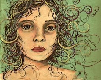 Wispy Hairs, Colorful Female Surreal Portrait, Digital Painting,  Original Art Print