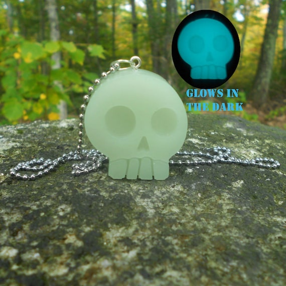 Kawaii, Pastel Goth, Resin Jewelry, Skull, Glow in the Dark, Aqua Blue, Stainless Steel, Ball Chain, Fake Leather Wax Cord