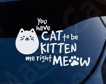 You Have Cat To Be Kitten Me Right Meow Decal Car Window Laptop
