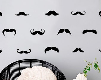 Mustaches wall decal - Mustache Pattern decal - Mustache wall sticker - Old Fashion decor - Mustache wall decal - Grand siècle decor