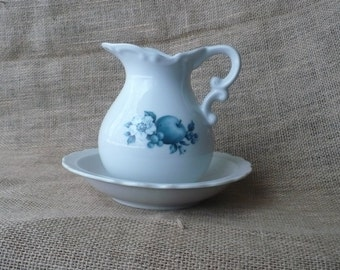 Pitcher and Bowl Set With Blue Floral and Fruit