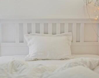 Linen sham pillow case, softened linen. Soft linen pillow case. White linen pillowcase. White linen sham. White linen bedding. Flax
