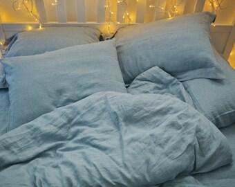 Softened linen sham pillow case. Aquamarine blue. Blue pillowcase. Pre washed linen pillowcase. Stonewashed linen. Linen pillow sham.