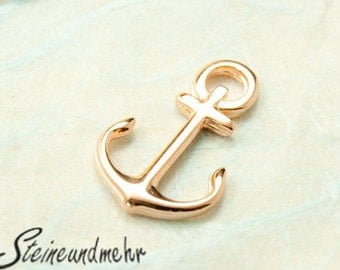 2 pcs. anchor rosegold plated 16mm charm art.1205