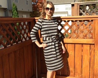Black & Gray  Stripe Dress  / Knee Length Dress