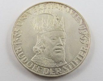 Austria 1965 Silver 50 Schilling Coin.Subject-600th Anniversary-Vienna University