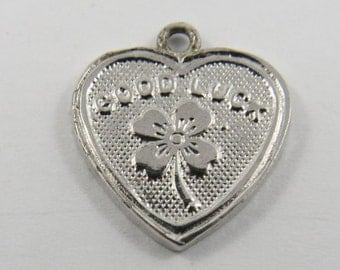 Good Luck Heart with Four-Leaf Clover in the Center Silver Charm of Pendant.
