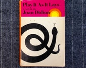 RARE 1st Edition Joan Didion 'Play It As It Lays' Hardcover Vintage Book / Novel  FSG  Roy Kuhlman Jacket Design