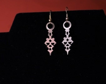Gold Baroque Clock Hand Earrings