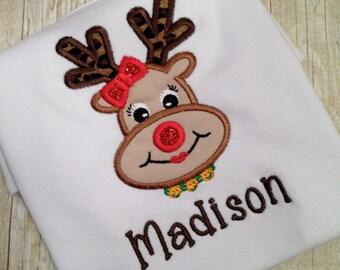 So Cute!! Christmas Girl Reindeer Applique Onesie/Shirt