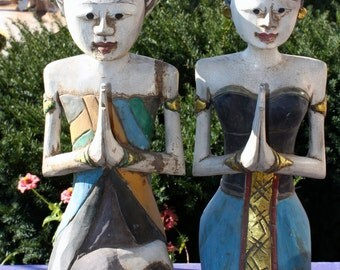 Vintage Loro Blonyo Javanese fertility wedding figure Hand-carved wood Indonesia