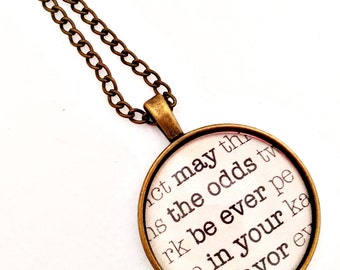 Hunger Games necklace - May the odds be ever in your favor necklace - mockingjay necklace - fandom neckace - customized necklace