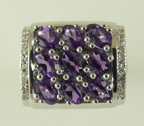 Amethyst1.73ct Ring 14k White Gold and Diamonds 0.08ct