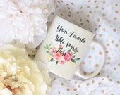 Custom Bible Verse Watercolor Floral Bouquet Sublimation Mug, 2 Sided