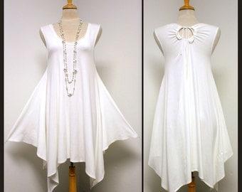 New Adorable In Style Peek A Boo Asymmetrical White Dress.