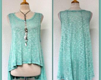 Elegant and Smart Hi Low Short Artsy High End Asymmetrical Tunic Dress Top.