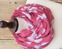 Pink Scarf Butterfly Scarf  White Butterflies on. Fashionable Beach Sarong Scarf. Cotton Butterflies Scarf. Soft Shawl Wrap. Fashion Shawl