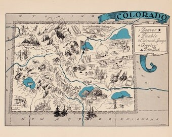 30's Whimsical COLORADO Map of Colorado State Map Print Travel Map Gallery Wall Art Library Office Decor Gift for Birthday Graduation