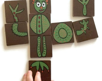 Wooden Tile Puzzle - Monster Puzzle - Tic Tac Toe Game - Two Sided Puzzle - Travel Puzzle - Travel Toy