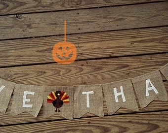 FALL TURKEY~ Burlap Banner/Garland ~ Thanksgiving Fall Autumn Holiday Decoration Give Thanks photo prop