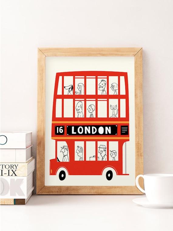 London print london bus london wall art nursery london for Home decor stores london