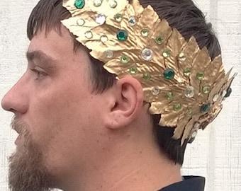 Caesar Crown, Roman Emperor Crown, Toga Crown with Clear & Green Gemstones