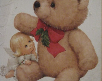 IRON-ON TRANSFER Beautiful New 1996 Dimensions FashionArt Holly Angel & Bear 80414 Ruth J Morehead Wearable Art Holly Babes Fabric Paint 002