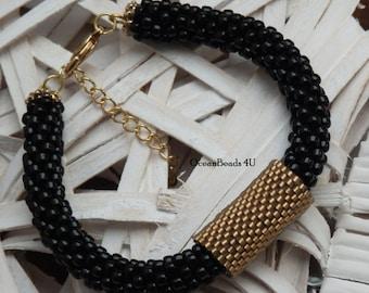 Beaded Crochet Bracelet/ Beaded Bracelet / Black Bracelet with Gold Peyote