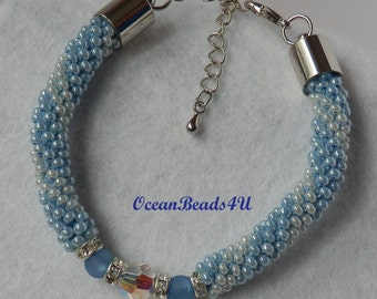 Beaded Crochet Bracelet/ Beaded Bracelet /Blue and White Bracelet