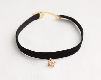3D Cube Star Choker, Black Velvet Choker, Star Charm Choker, Fashion Choker, Gift Necklace, Trendy Necklace, Lady Choker