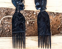African hair combs, handmade african wood art, man & woman faces combs, home decor, African art, A couple of wood hair combs, Christmas gift