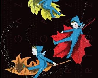 ART DECO ELVES Fly In Fallen Leaves. Vintage Fairy Print. Digital Vintage Fairy Tale llustration. Fairies Digital Download.
