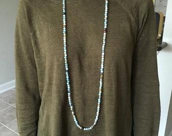 Amazonite Extra Long Double Wrap Necklace