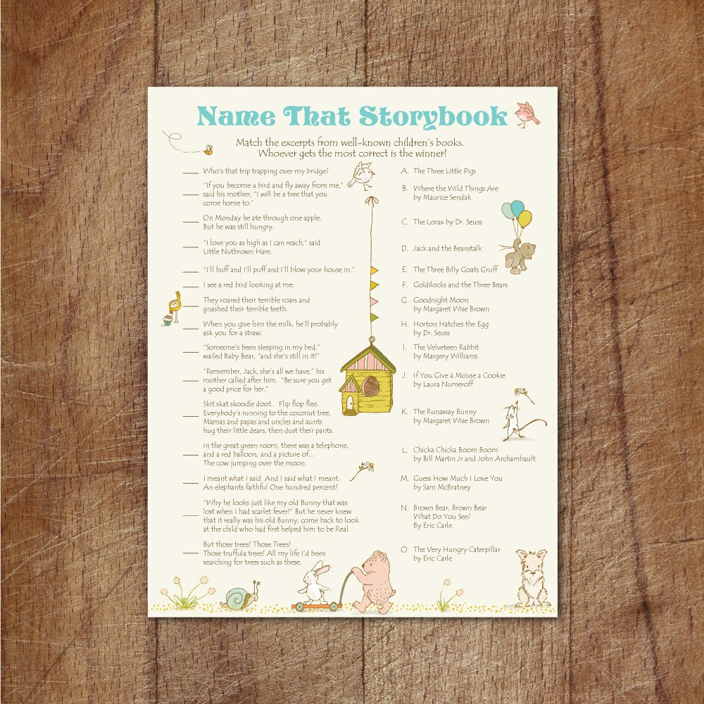 storybook baby shower name that storybook printable game
