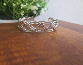 Retro Handmade Braided Sterling Silver Cuff Bracelet Weighing 27.6g