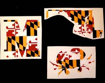 Maryland - Maryland Car Decal - Maryland Flag Decal - Maryland Flag Yeti - Maryland Flag Crab - Maryland State Decal - Maryland Car Decal