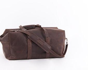 Dark Brown Leather Travel Bag. Top Grain Leather, Italian fittings