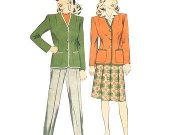Vintage Sewing Pattern 1940s Women's Skirt Pants Jacket Suit Hollywood 1428 Size 14 Bust 32