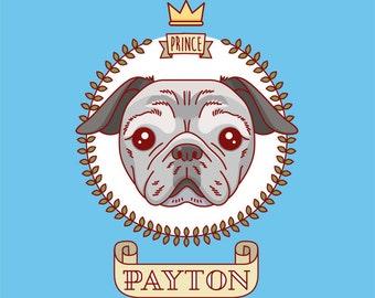 Pug portrait. Custom dog portrait. Personalized pet. Painting art. Pug wall art. Dog portrait. Dog painting. Pet memorial. Dog memorial